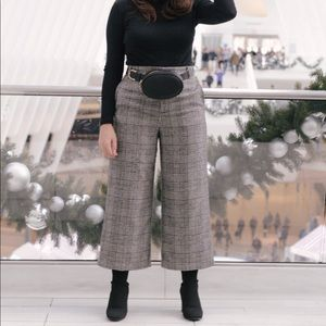 High waisted Plaid Pants with Tie